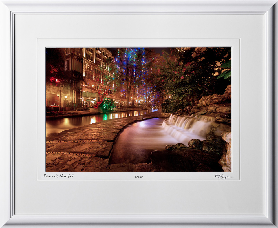 S121206H Riverwalk waterfall at night - 12x18