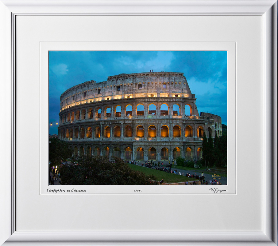 A060419C Firefighters on Colosseum - Rome Italy - shown as 12x16