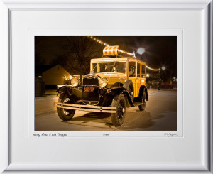 A081212A 1931 Woody Model A Ford with Toboggan - shown as 12x18