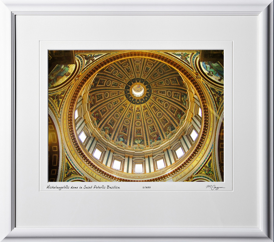 A060421A Michelangelo's dome in Saint Peters Basilica - Vatican City Rome Italy - shown as 12x16