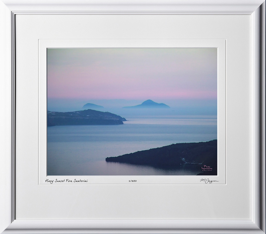 51 greece_fine_art_photo_S060416A Hazy Sunset in Fira Santorini - shown as 12x16