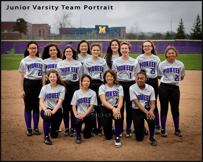 Pioneer HS JV Softball team portrait sport photography