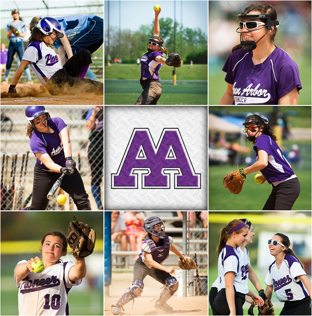 Header Photos - Ann Arbor Pioneer high school Softball MI