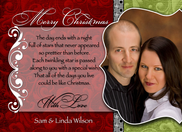 Custom designed press printed photographic Christmas Card