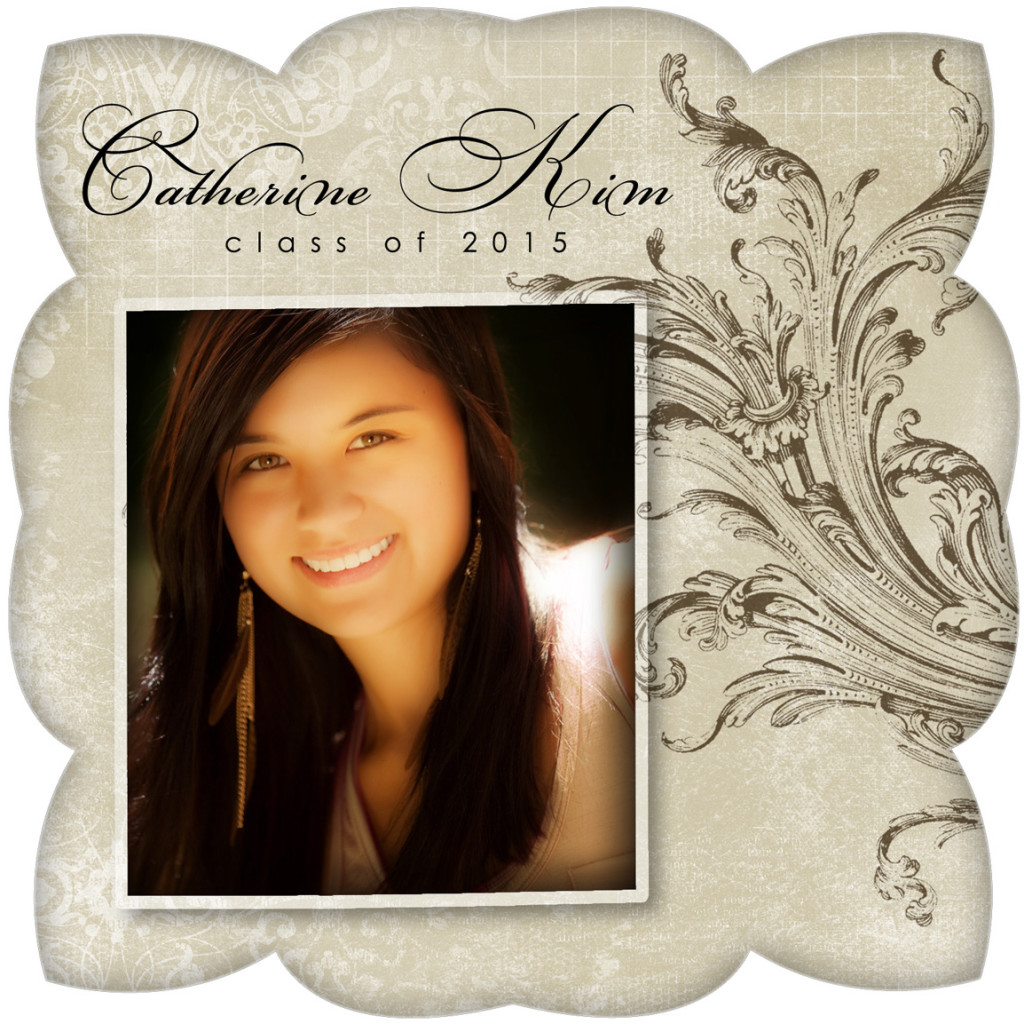 Custom Senior portrait graduation card with photography and artwork