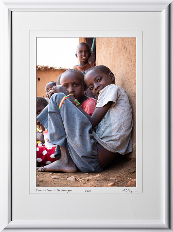 23 P190830A Masai children in the Serengeti - Africa Fine Art Photo of local children - 12x18 print in 18x25 frame