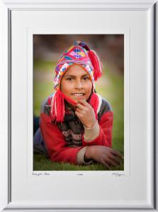 S110515 Inca girl at Alpaca farm - Awanacancha Peru - shown as 12x18