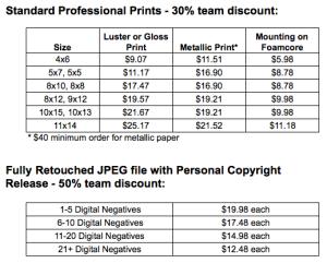 Huron Hockey action photo team pricing