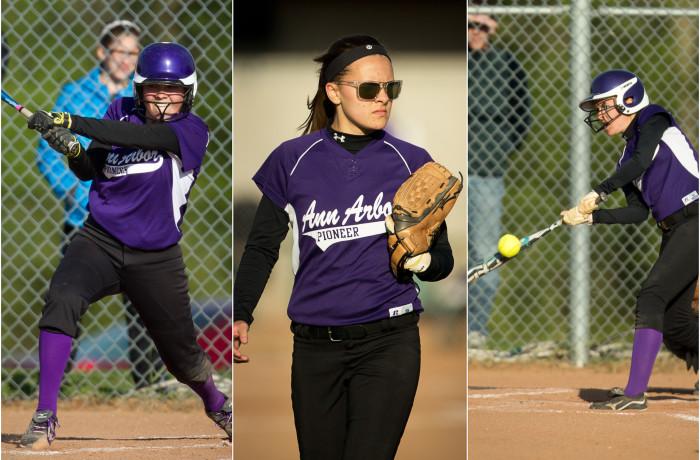Pioneer Softball VS Huron High, 5-13-13, Ann Arbor