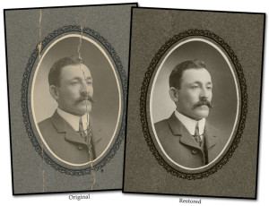 Photo restoration torn photograph restoration