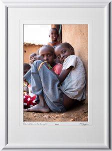 23 P190830A Masai children in the Serengeti - Africa Fine Art Photo of local children - 12x18 print in 18x25 frame